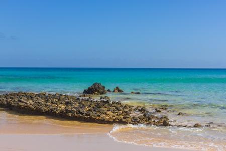 Beach stone. Atlantic ocean. Lava calderas Coastal line Stock Photo