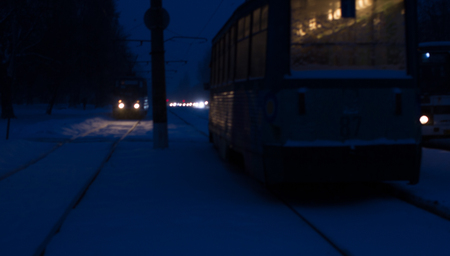 Severe powerful snow in Konotop. One snowy winter night in the city. Night time
