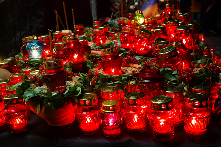 Red candles at night near the holodomor memorial. in Ukraine. Golodomor