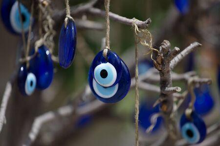 Greek eye. Traditional glass work, turkish nazar symbol. Boncuk. Blue eye evil