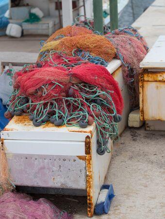 Colorful fishing nets. Fisherman net, fishnet in Turkey