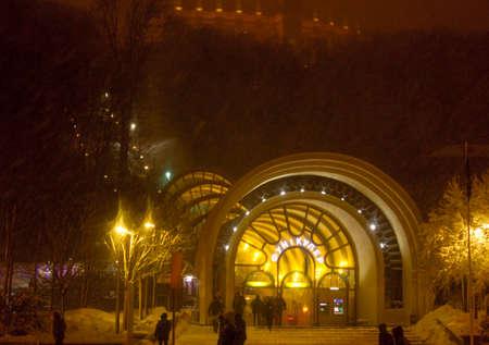 Kiev Funicular at night, winter snow storm.