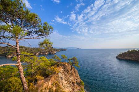 Mediterranean Sea nature landscape. Turkey, Fethiye Bay.