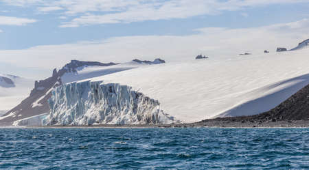 Icebergs. Antarctica ice landscape, climate change. Extreme boat expedition.
