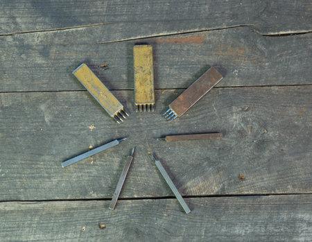 Leather instruments kit. Leather 4 hole puncher. Hobby set of handmade leather tools. Reklamní fotografie