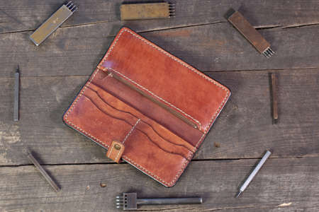 Leather instruments kit. Leather 4 hole puncher. Hobby set of handicraftsman. Passport wallet.