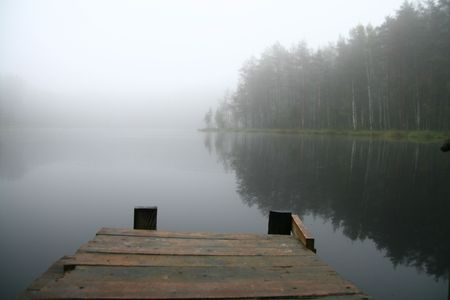 footway: Morning lake in a fog planked footway landscape nature Stock Photo