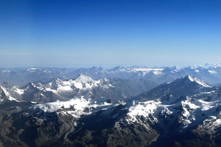 Mountains Alpes the top view from plane Stock Photo - 2094591