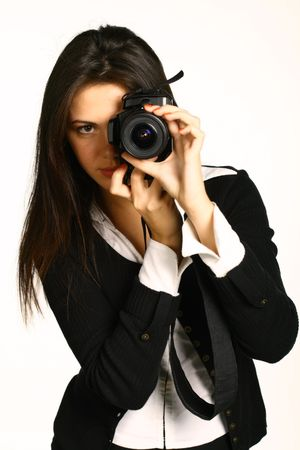 The business girl the photographer removes something photo