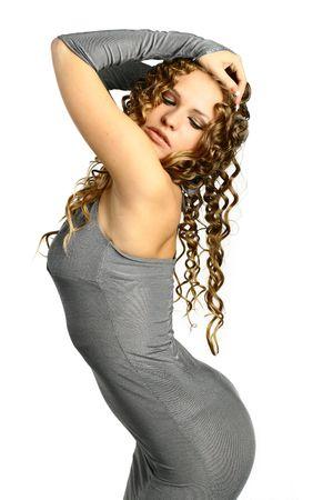 sexual pleasure: Portrait the girl beautiful sexual pleasure passion in a sight blonde