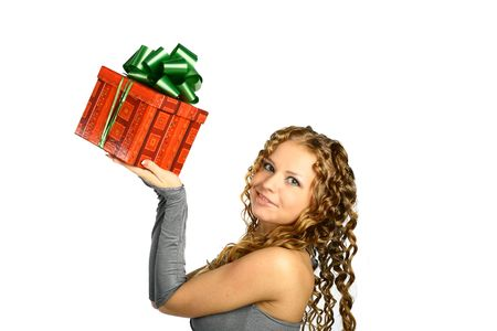 The girl with a gift in cheerfully box smiles new year Stock Photo - 2143679