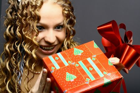 The girl on a card christmas miracles Stock Photo - 2143753