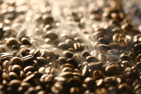 smells: coffee beans Grains of coffee let out aroma and smells drawing of attention