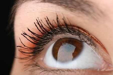 dilate: beauty brown eye lokk up Stock Photo