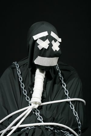 comically: black comic very strange man Stock Photo