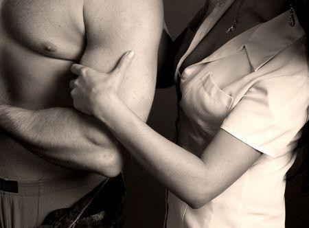 girl take man hand sepia Stock Photo - 2433908