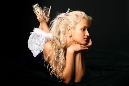 sexy blonde girl: blondie angel girl on black wings behind