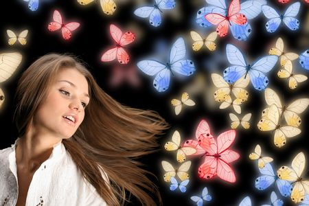 Girl in butterfly night colored dream photo