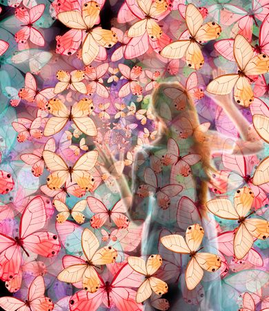 charisma: Girl in butterfly night colored dream