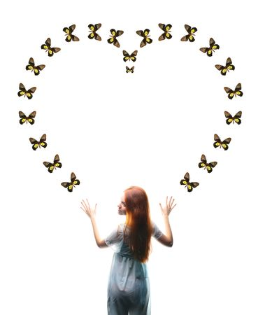 fantasy Girl and butterfly sign photo