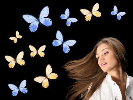 Girl in butterfly night colored dream Stock Photo - 2498028