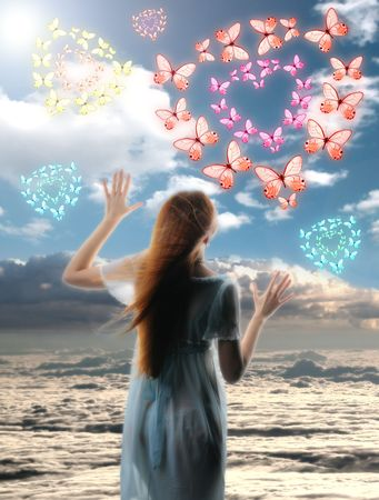 girl blue sky and butterfly hearts Stock Photo - 2498042
