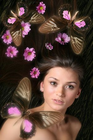 beautiful butterfly and model girl Stock Photo - 2498052
