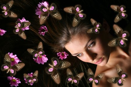 beautiful butterfly and model girl photo