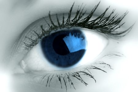 blue eye look at you super vision Stock Photo