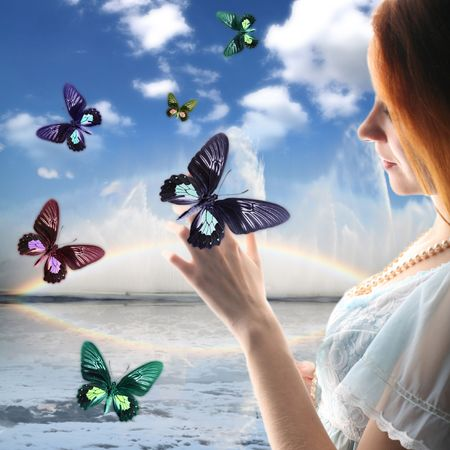 girl on the sky butterfly around her Stock Photo - 2497982