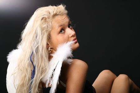 angel girl blondie and white wings Stock Photo - 2505768