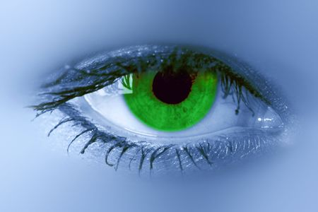 dilate: beauty green eye see at you Stock Photo