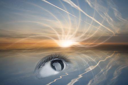 dilate: beauty black deep eye see at he sun Stock Photo