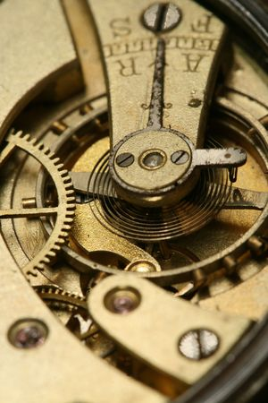 watch movement: clockworks device engine gears close up