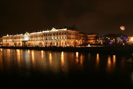 night petersburg reflect in water river photo