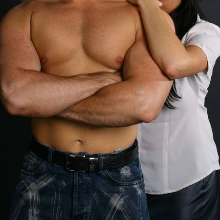 testosterone: sexy bodys of unknown man and girl Stock Photo