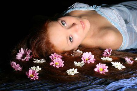 beautiful white flowers in girl hair Stock Photo - 2521986
