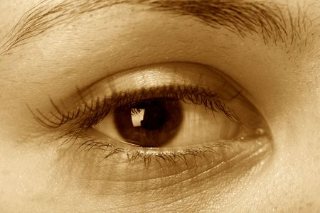 dilate: girl eye look around for find something Stock Photo