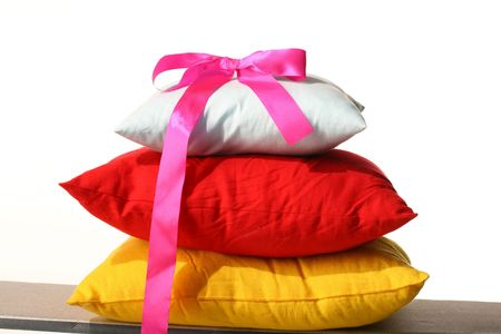 pillow white red yellow sleep