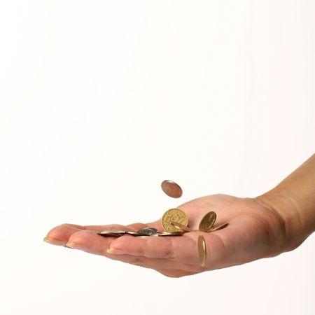 earn money rain pay from girl hand Stock Photo - 2555467