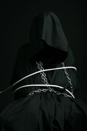 monk in black robe evil portret Stock Photo - 2596158