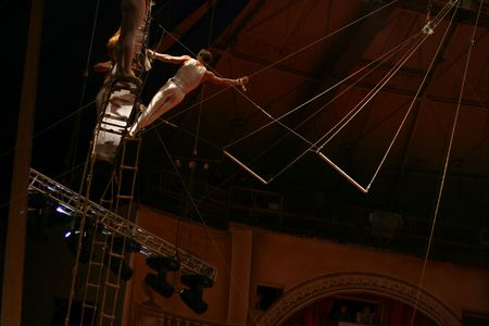 performers: Acrobat in circus life risk man