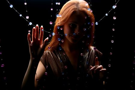 diamonds red hair model beautiful girl photo