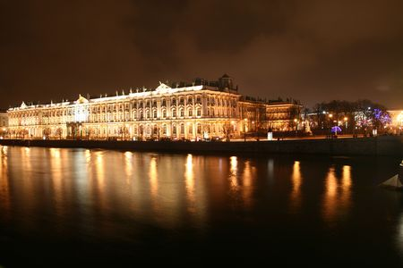 night petersburg dark river reflect photo
