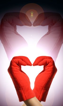 red hands show heart Stock Photo - 2626428