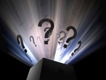 digital question in box 3d concept light Stock Photo - 2626436