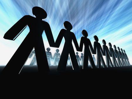 unification: business team succes 3d concept