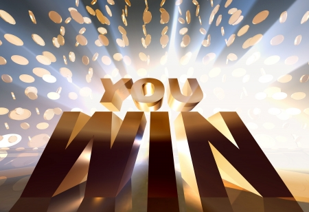 you win 3d concept golden sign photo