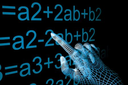 subtraction: cyber hand mathemathics 3d abstract Stock Photo
