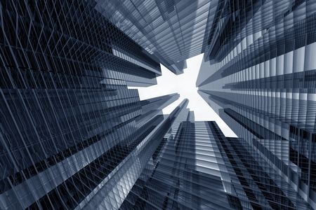 skyscrapers 3d in sky business concept Stock Photo